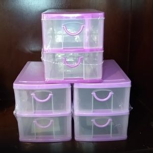 Other - 3, 2-Tier Purple Mini Stackable Cabinets